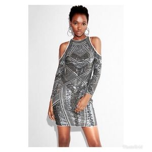 Geometric silver sequin cold shoulder dress